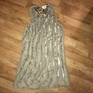Parker Silver Beaded & Sequined Stripe Dress